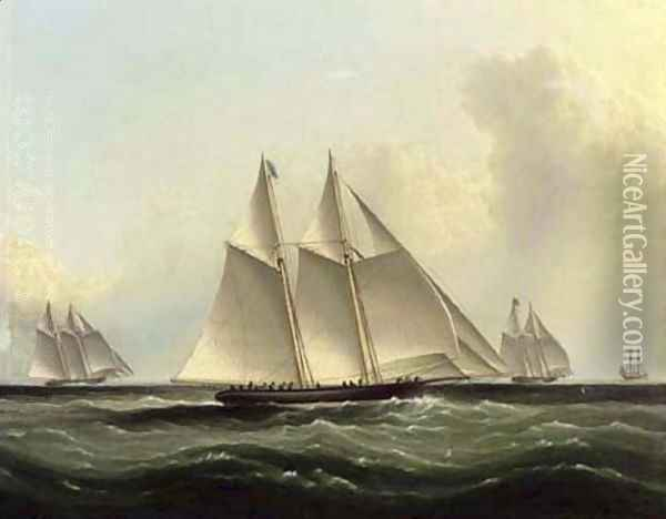 The Great Ocean Race, 'Henrietta,' 'Fleetwing' and 'Vesta' Oil Painting - James E. Buttersworth