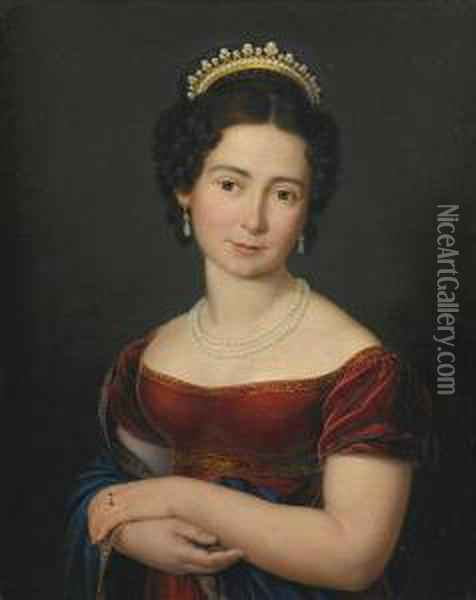 Portrait Of Marie Luise Victoire Prinzessin Von Sachsen-coburg-saalfeld, Later Of Leiningen And Then Duchess Of Kent, Half-length, In A Red Dress With A Blue Shawl, With A Pearl Necklace And A Tiara Oil Painting - Franz Joseph Zoll
