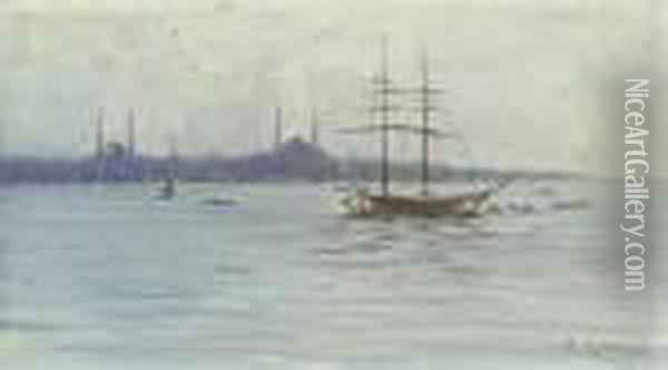 View Of Istanbul Oil Painting - Fausto Zonaro