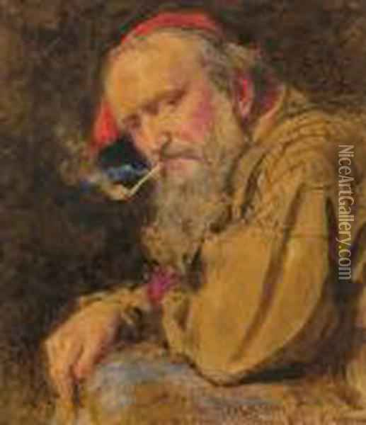 Man With Pipe Oil Painting - John Absolon