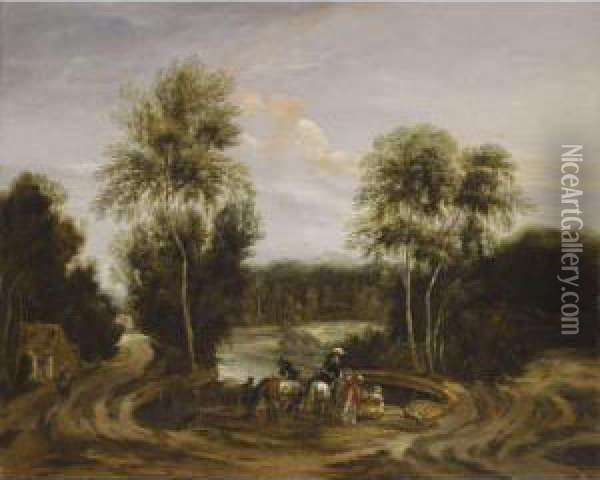 A Wooded Landscape With An Elegant Hunting Party Beside A Lake Oil Painting - Lucas Achtschellinck