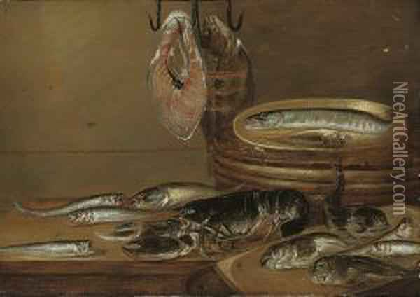 Still Life With Fish And A Lobster On A Table Oil Painting - Alexander Adriaenssen