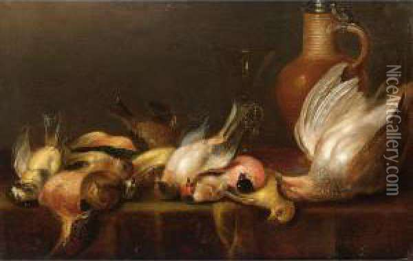 A Partridge And Various Song  Birds With A Facon-de-venise Glass And Stoneware Jug With Tin Cover Oil Painting - Alexander Adriaenssen