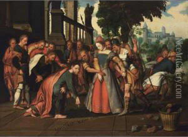Christ And The Woman Taken In Adultery Oil Painting - Pieter Aertsen