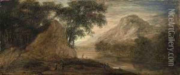 A Riverlandscape With Figures. Oil/panel Oil Painting - Christophe-Ludwig Agricola