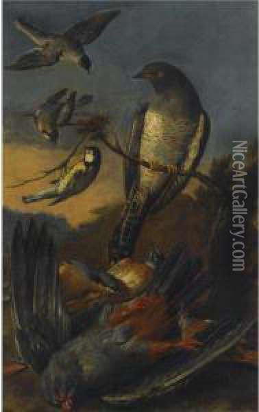 A Kestrel, A Great-tit And Other Birds In A Landscape Oil Painting - Christophe-Ludwig Agricola