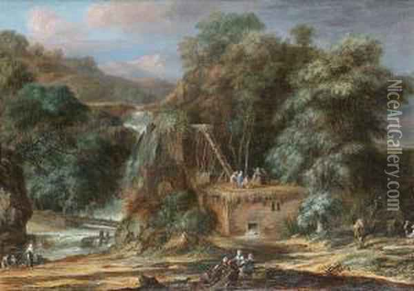 A River Landscape With Figures  Constructing An Aqueduct Beside Waterfalls, Oriental Figures And Camels  Nearby Oil Painting - Christophe-Ludwig Agricola