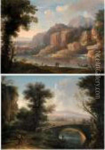 A Mountainous River Landscape  With Figures By The Shore; A Southern Landscape With A Bridge Crossing A  Small River Oil Painting - Christophe-Ludwig Agricola