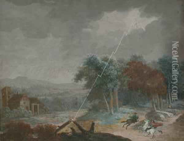 A Wooded Landscape With Horsemen Taking Shelter In A Storm Oil Painting - Christophe-Ludwig Agricola