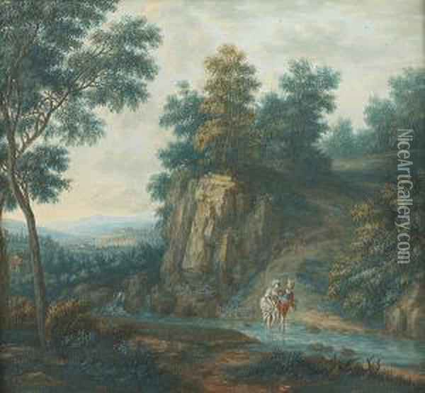 River Landscapes With Figures Oil Painting - Christophe-Ludwig Agricola