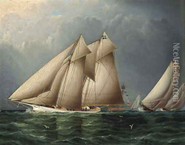 The Schooner Yacht Fenella Rounding Sandy Hook Lightship with Estelle Following Oil Painting - James E. Buttersworth