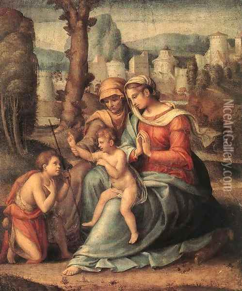 Madonna with Child, St Elisabeth and the Infant St John the Baptist 1530s Oil Painting - Francesco Ubertini Bacchiacca II