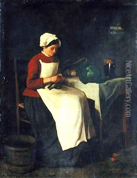The Young Housewife Oil Painting - Francois Bonvin