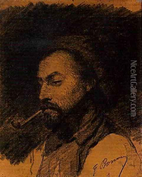 The Head of a Man Smoking a Pipe Oil Painting - Francois Bonvin