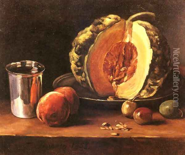 Still life with a Pumpkin, Peaches and a Silver Goblet on a Table Top Oil Painting - Francois Bonvin