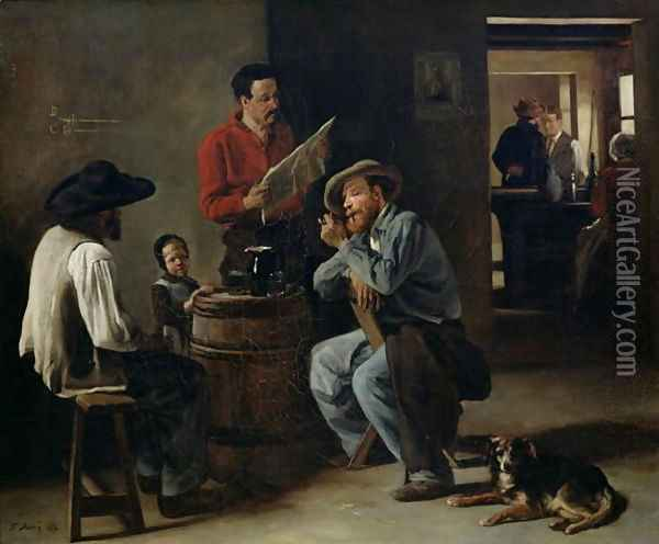 Interior of a Tavern, 1859 Oil Painting - Francois Bonvin