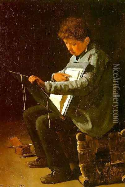 Seated Boy with a Portfolio 1857 Oil Painting - Francois Bonvin