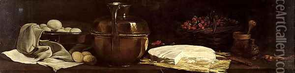 Still Life with Brie, 1863 Oil Painting - Francois Bonvin