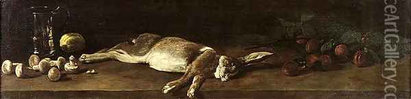 Still Life with a Hare, 1863 Oil Painting - Francois Bonvin