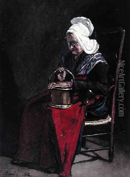 Old Woman with Brass Pot, 1862 Oil Painting - Francois Bonvin