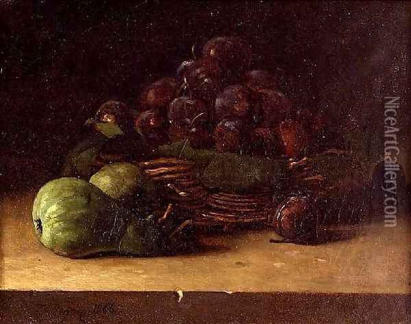 Still life with a basket of prunes 1866 Oil Painting - Francois Bonvin