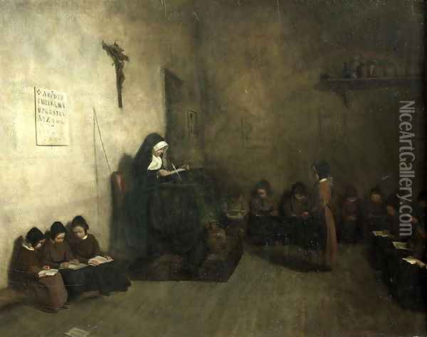 Interior of a School for Orphaned Girls, 1850 Oil Painting - Francois Bonvin