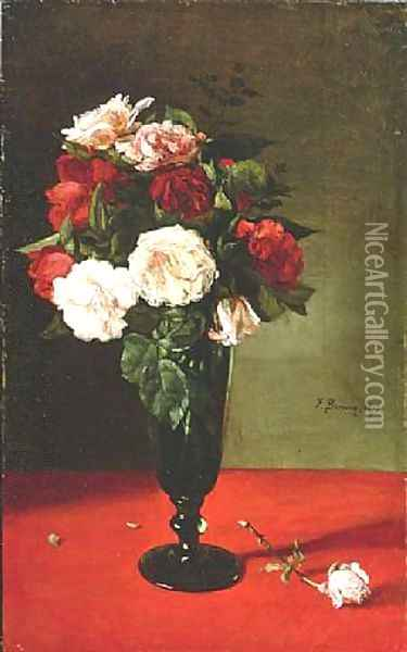 Roses in a Vase 1878 Oil Painting - Francois Bonvin