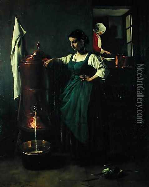 The Copper Drinking Fountain, 1861 Oil Painting - Francois Bonvin