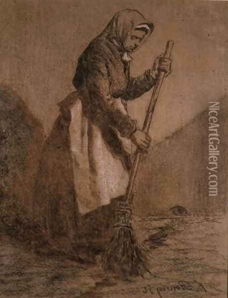 Woman Sweeping, 1856 Oil Painting - Francois Bonvin