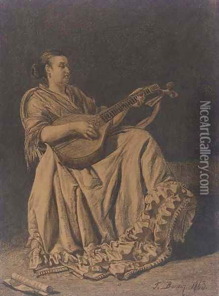 A seated woman playing a mandolin Oil Painting - Francois Bonvin