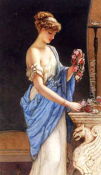 A Girl In Classical Dress Arranging A Garland Of Flowers Oil Painting - Auguste Jules Bouvier, N.W.S.