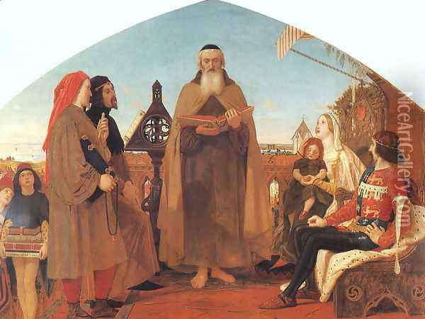 Wycliffe Reading his Translation of the New Testament to his Protector- John of Gaunt 1847-48 Oil Painting - Ford Madox Brown