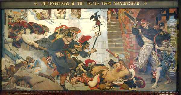 The Expulsion of the Danes from Manchester Oil Painting - Ford Madox Brown