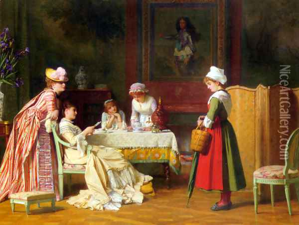 A Letter of Recommendation Oil Painting - Charles Baugniet