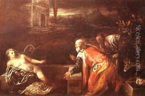 Susanna and the Elders 1571 Oil Painting - Jacopo Bassano (Jacopo da Ponte)