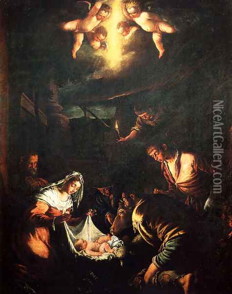 The Adoration of the Shepherds (2) Oil Painting - Jacopo Bassano (Jacopo da Ponte)