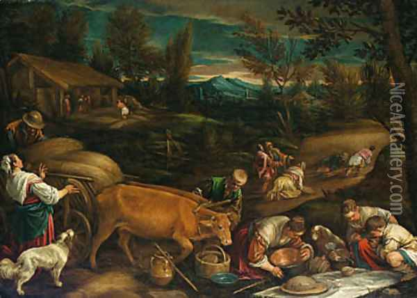 Summer a wooded landscape with peasants harvesting, a meal being laid out in the foreground Oil Painting - Jacopo Bassano (Jacopo da Ponte)