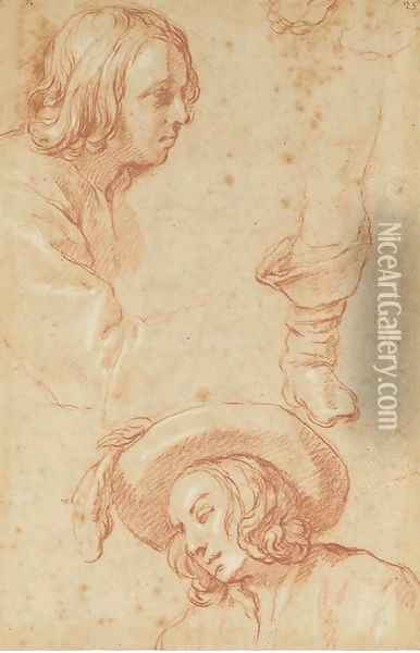 Studies of a boy, half-length, in profile to the right, and the same in a plumed hat looking down to the left, and a study of a right leg Oil Painting - Abraham Bloemaert