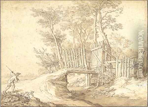 A peasant approaching a bridge over a stream, a wood beyond Oil Painting - Abraham Bloemaert
