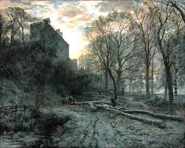 Winton House, East Lothian a Frosty Morning Oil Painting - Samuel Bough