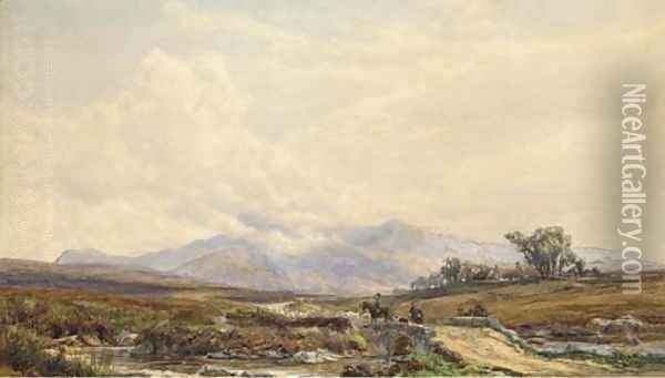 Figures on a highland track Oil Painting - Samuel Bough