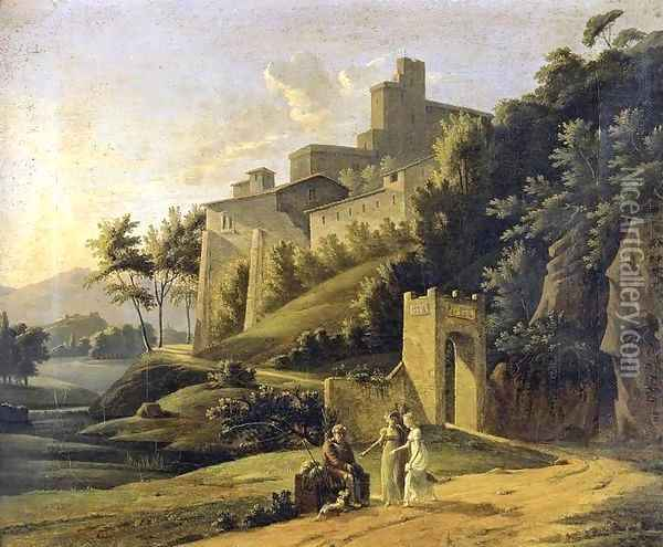 Landscape with a Fortress and a Beggar Oil Painting - Jean-Victor Bertin