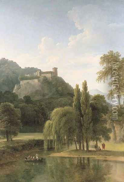 A river landscape with classical figures in a boat, a hilltop castle beyond Oil Painting - Jean-Victor Bertin