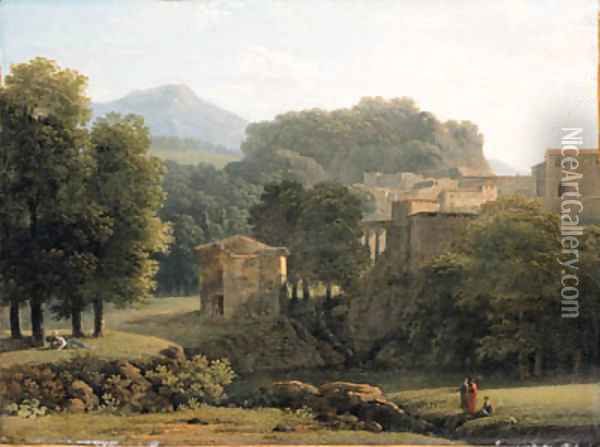A wooded classical Landscape with Figures by a Brook, a town beyond Oil Painting - Jean-Victor Bertin