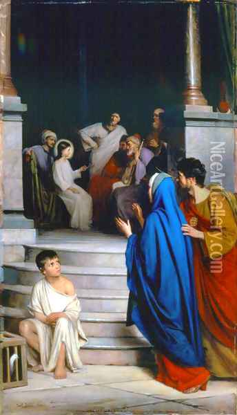 Christ Teaching at the Temple Oil Painting - Carl Heinrich Bloch