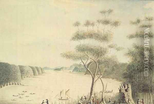 View in Broken Bay, New South Wales, 1788 Oil Painting - William Bradley