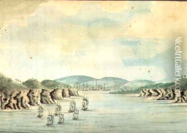 Sirius' and convoy, the Supply and Agent's Division going into Botany Bay, 1788 Oil Painting - William Bradley
