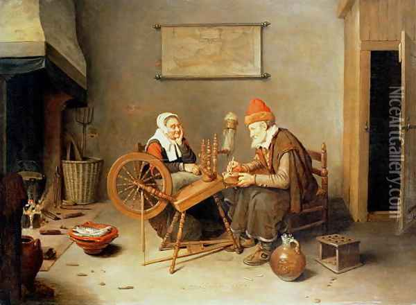 An interior with a old woman at a spinning wheel, 1657 Oil Painting - Quiringh Gerritsz. van Brekelenkam