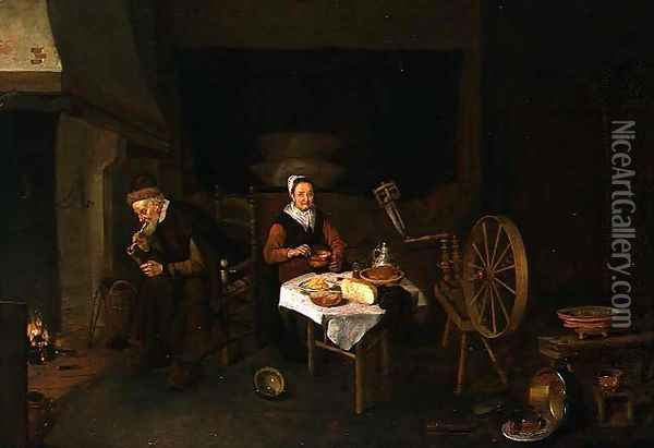 An Elderly Couple in an Interior Oil Painting - Quiringh Gerritsz. van Brekelenkam