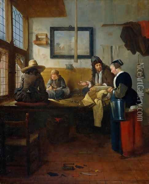 The Tailor's Workshop Oil Painting - Quiringh Gerritsz. van Brekelenkam
